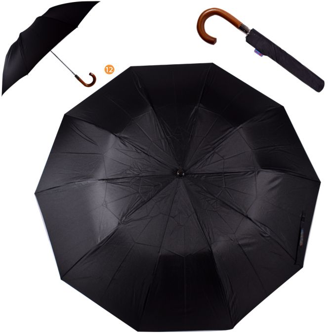 Paraguas mango madera liso x1u