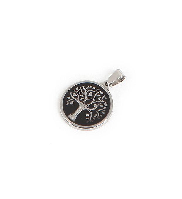 Dije acero medalla árbol esmaltada 25 mm x1u