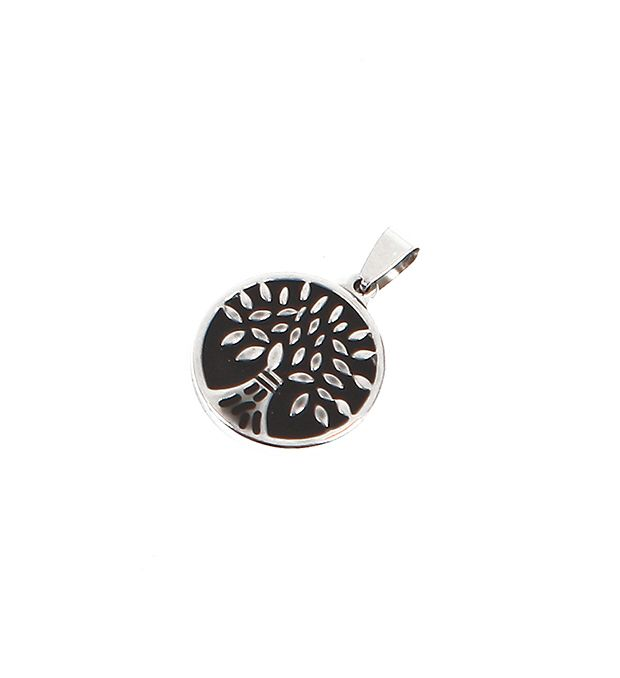 Dije acero medalla árbol con relieve 25 mm x1u