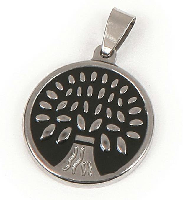 Dije acero medalla árbol esmaltada 24 mm  x1u