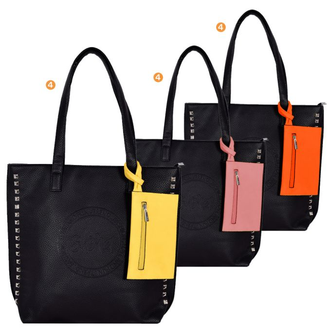 Shopper  Mujer  40X34X10Cm  Tachas Y Press Con Monedero    x12u
