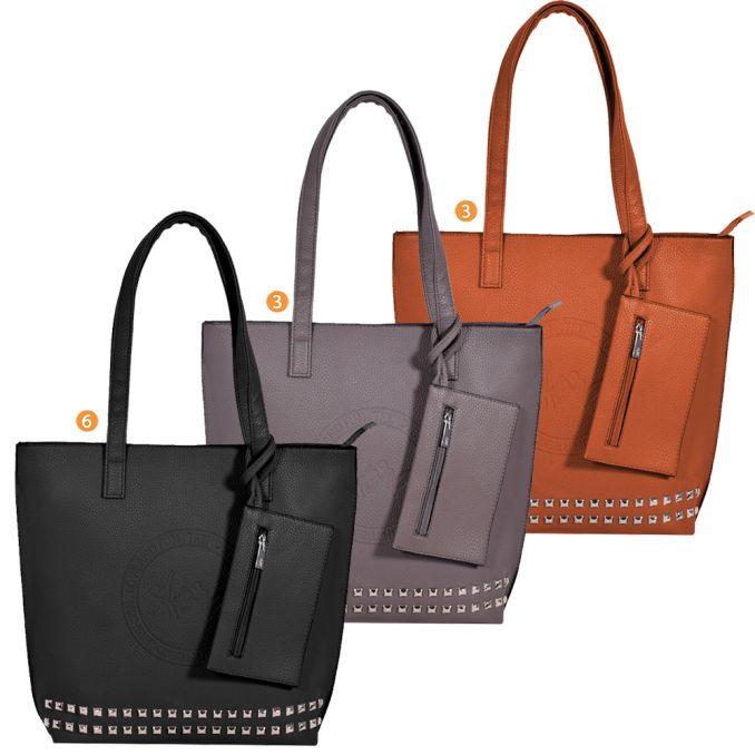 Shopper  Mujer  40X34X10Cm  Tachas Y Press    x12u
