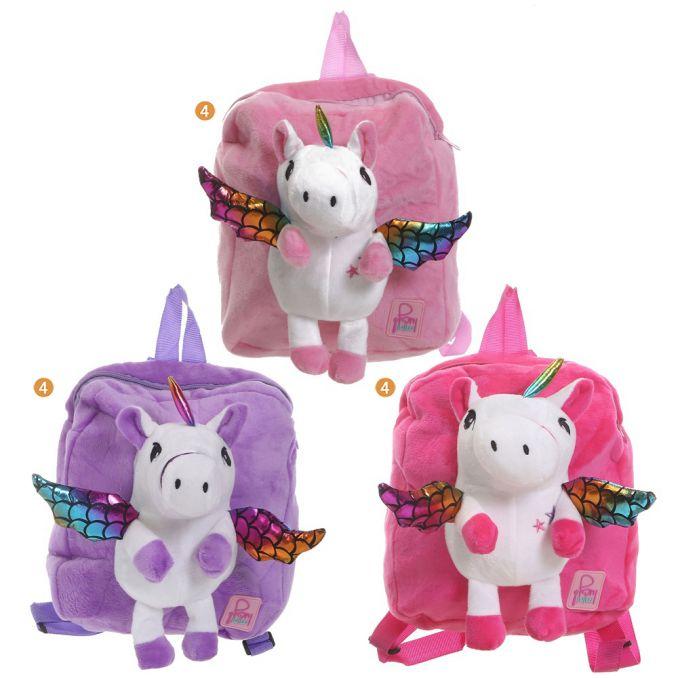 Mochila Infantil 20X22.5X4 Peluche Con Unicornio X 12