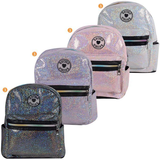 Mochila Skora 30X24X15.5 Metalizada Escamas Con Detalle Cierre Multicolor x1u