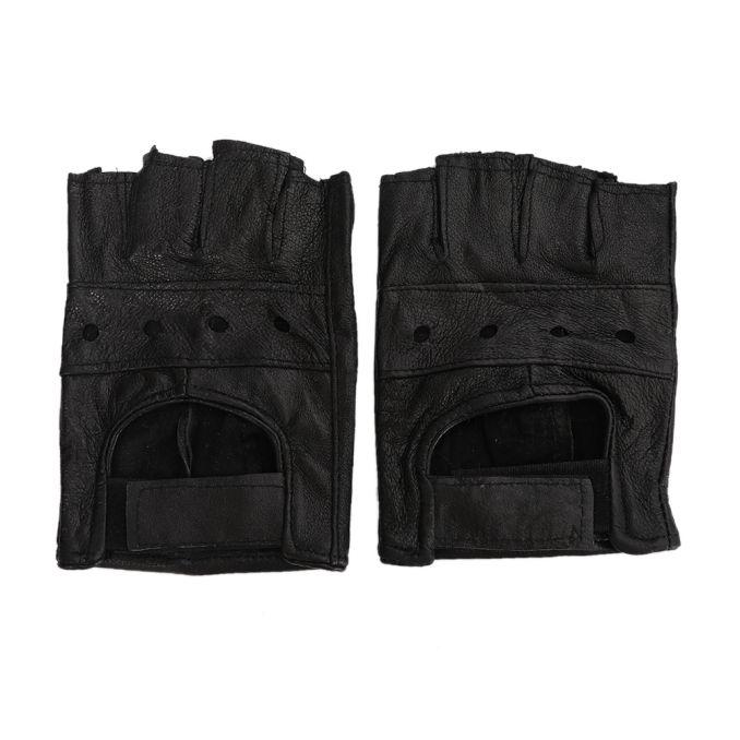 Guante moto cuero con proteccion en la palma x1u
