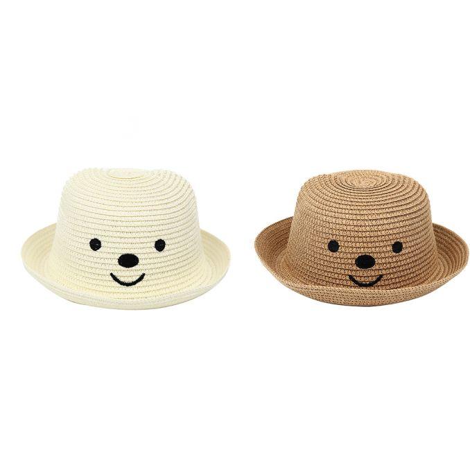 Sombrero bombin infantil con cara de osito x1u