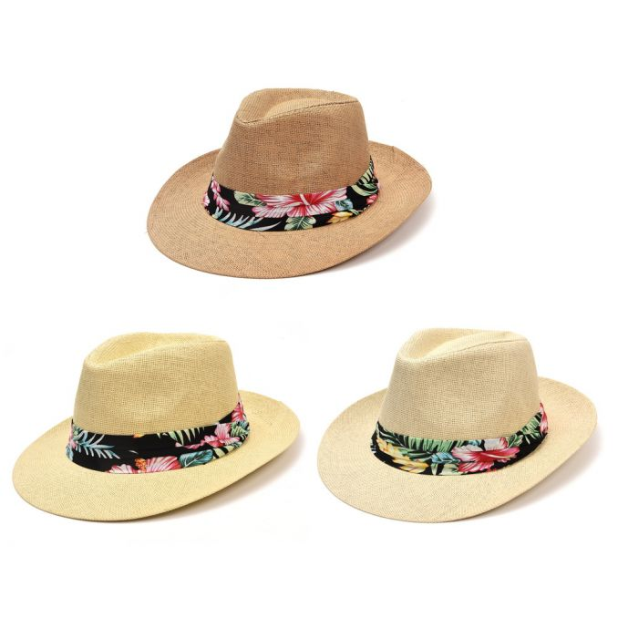 Sombrero tanguero rafia con tela tropical x1u