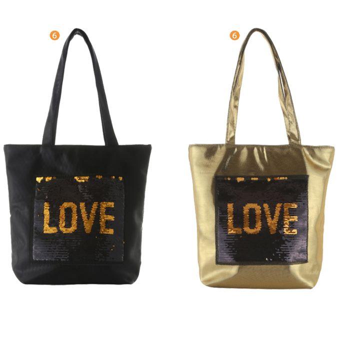 Shopper Aloha Summer 43X 37X12 Con Parche Lentejuela Love x1u