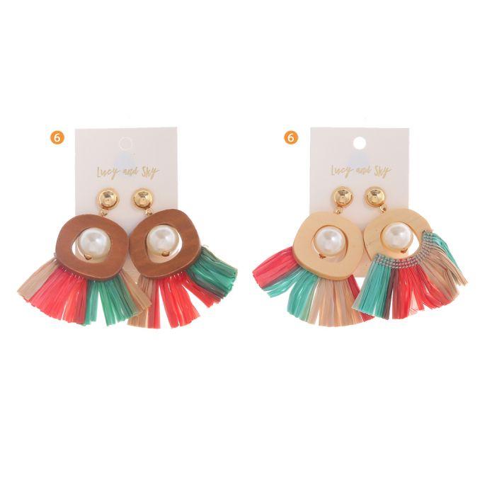 Aro Madera con Perlas y flecos x1u