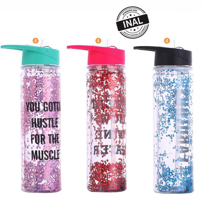 Botella Gliter Con Pico x1u