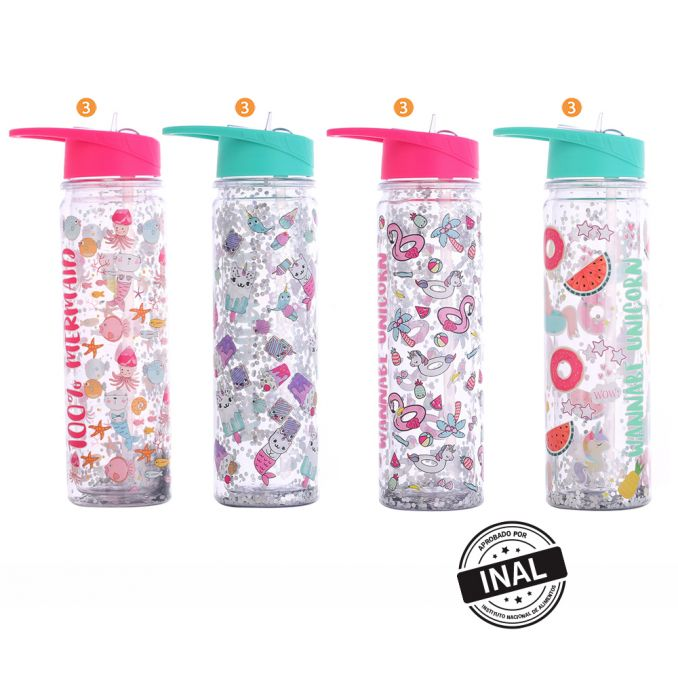Botella Glitter Y Estampa Con Pico x1u