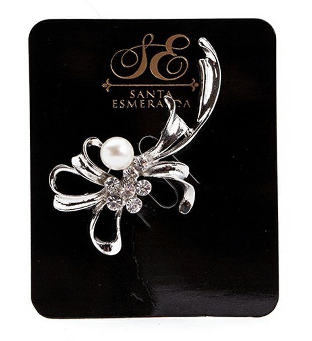 Prendedor flores con perla y strass x1u