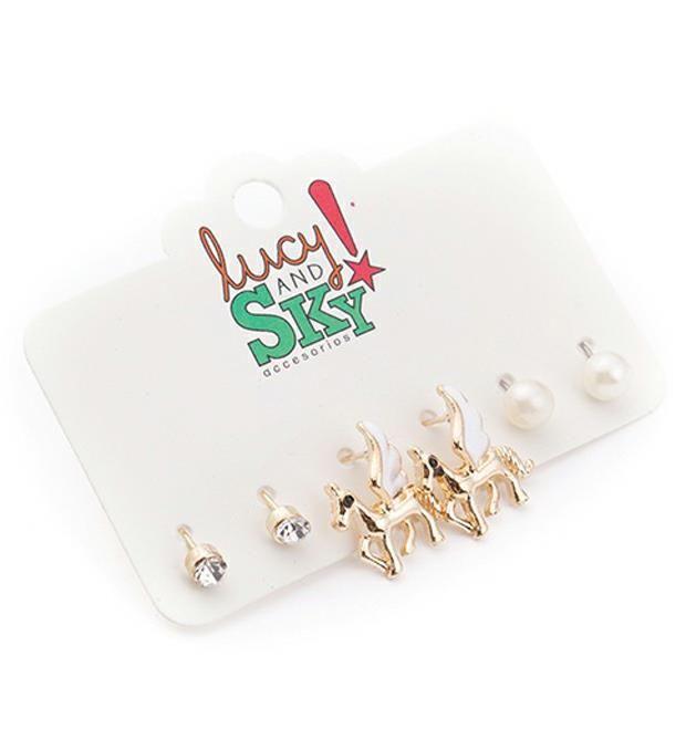 Set aro unicornio esmalte-perla-strass x3u