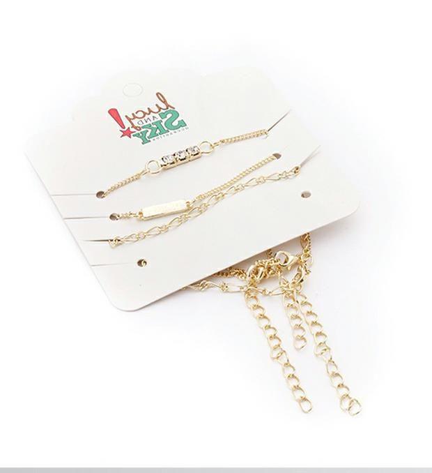 Set pulseras cadenas y chapas strass x3u