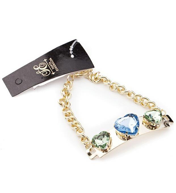 Pulsera cadena con chapa  piedras corazones  x1u