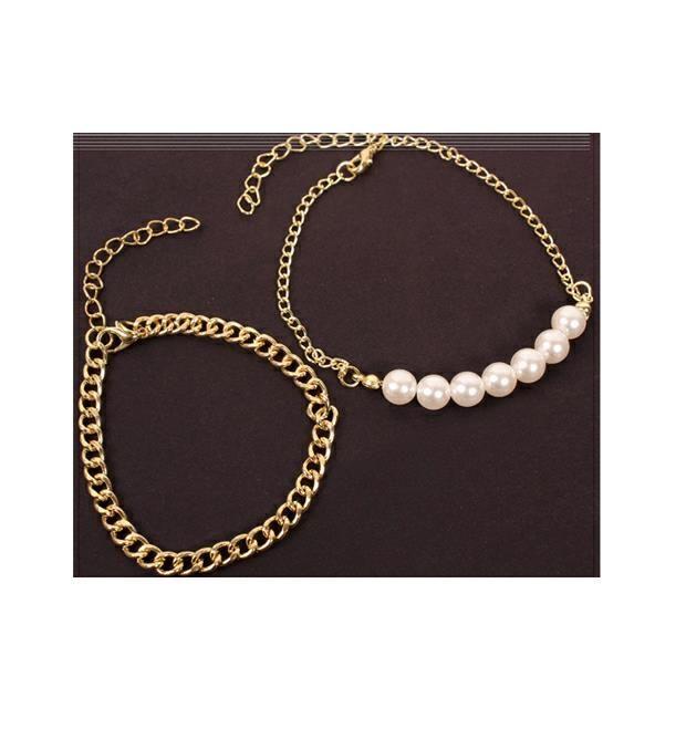 Set pulsera cadena y perlas  x1u