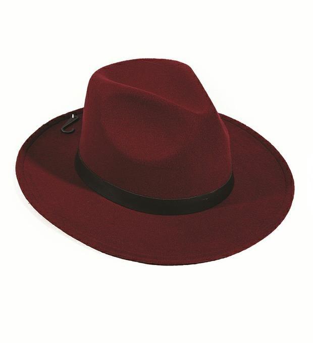Sombrero fieltro rigído con cinta pu y hebilla x1u