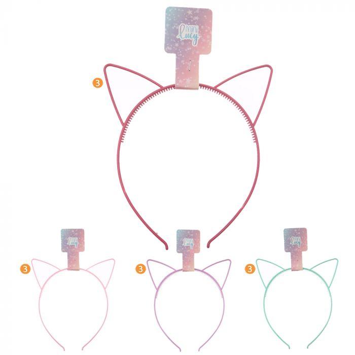 Vincha rigida infantil orejita gato x1u