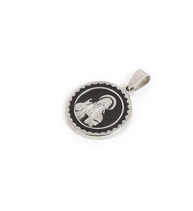 Dije acero medalla religiosa esmaltada 23 mm x1u