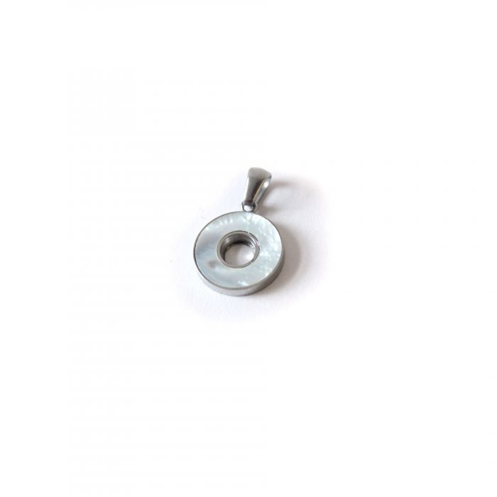 Dije acero círculo nacar 15 mm x1u