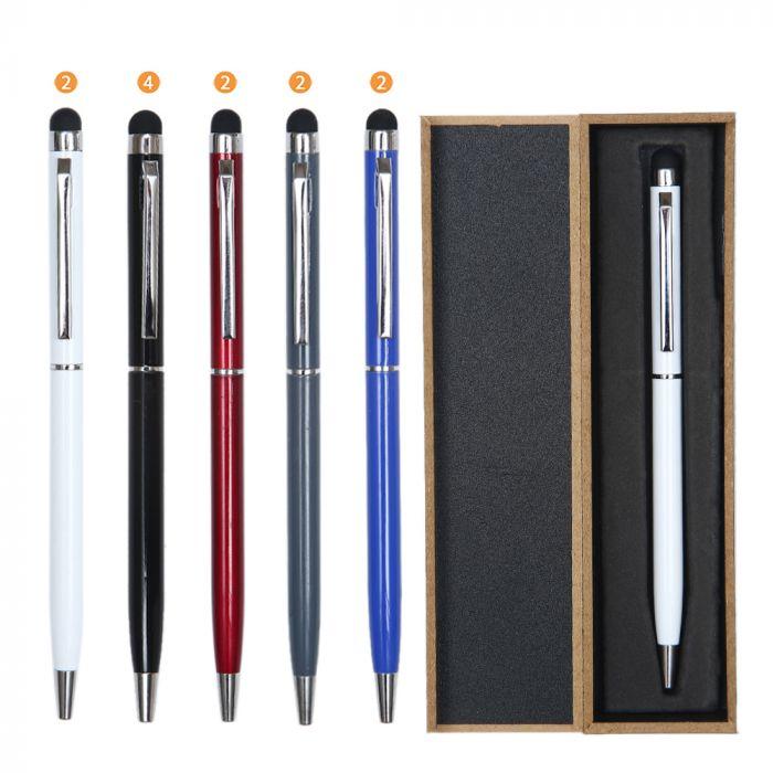 Lapicera clasica en caja tinta azul con marcador x1u
