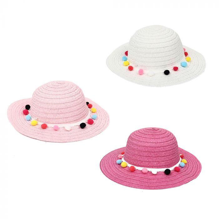 Sombrero capelina infantil con pompones x1u