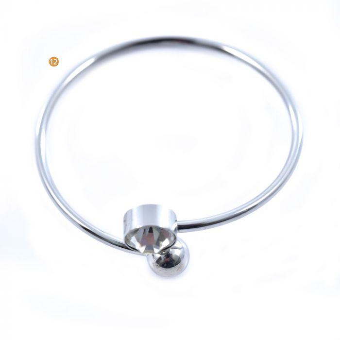 Pulsera acero 304 rígida semi abierta bolita gem x1u