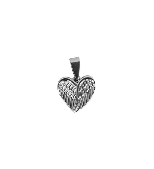 Dije corazón alas acero 17 mm x1u