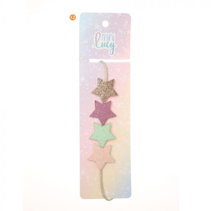 Vincha elastica infantil con dijes estrellas x1u