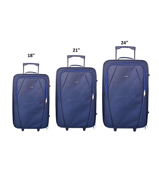 Set valijas 2 ruedas negro y azúl Check In (2 Medianas y una Chica) x3u