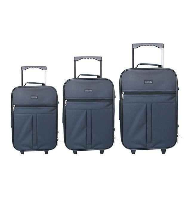 Set Valijas 2 ruedas negro Check In (2 Medianas y una Chica) x3u