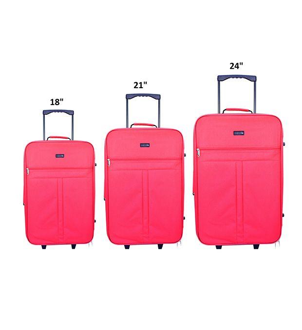 Set Valijas 2 ruedas rojo Check In (2 Medianas y una Chica) x3u