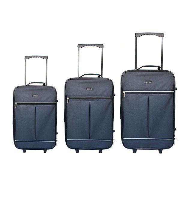Set Valijas 2 ruedas negro y gris Check In (2 Medianas y una Chica) x3u