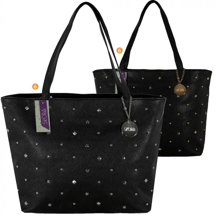 Cartera shopper dama 44x29x12 cm PU con multitachas en frente x1u
