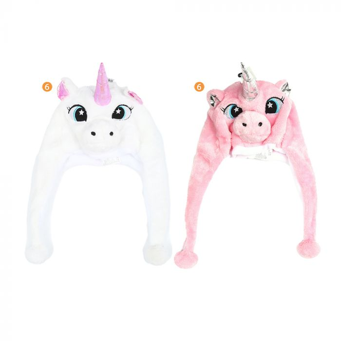 Gorro coya infantil nena peluche con carita unicornio x1u