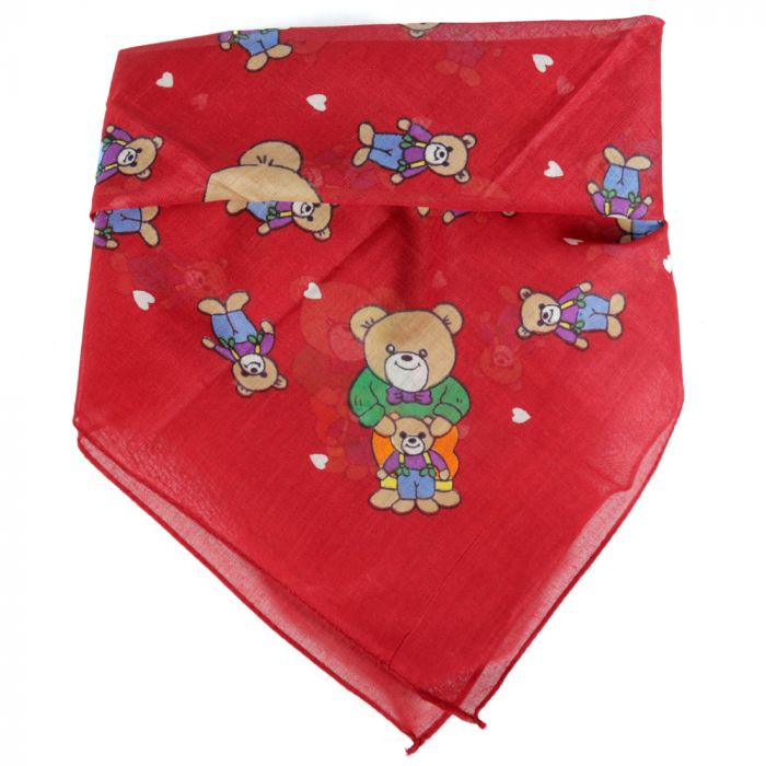 Pañuelo 50x50 cm estampado osito rojo algodón origen india x1U