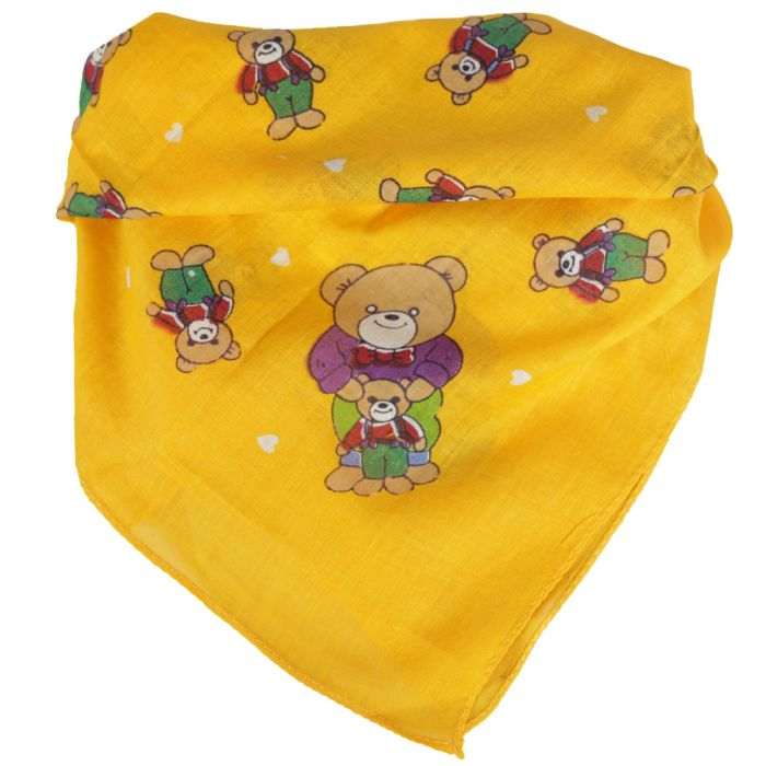 Pañuelo dama 50x50 cm estampado osito amarillo algodón origen india x1U