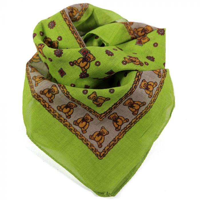 Pañuelo 50x50 cm estampado ositos verde algodón origen India x1u