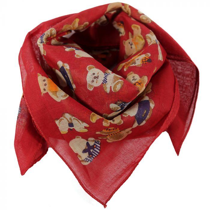 Pañuelo 50x50 cm estampado ositos rojo algodón origen India x1u