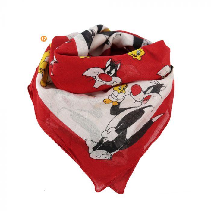 Pañuelo 50x50 cm estampado looney tunes rojo algodón x1u