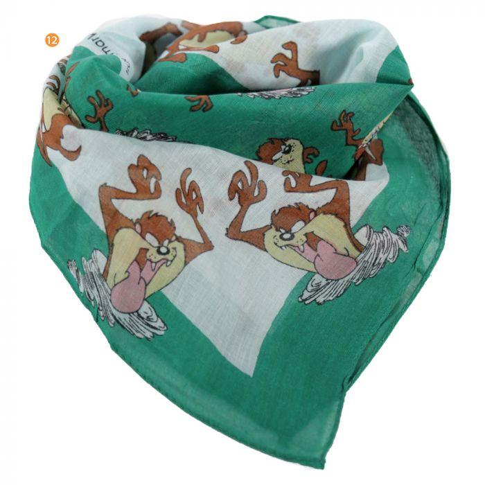 Pañuelo 50x50 cm estampado looney tunes verde algodón x1u
