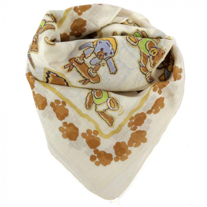Pañuelo 60x60 cm estampado ositos algodón origen India x1u