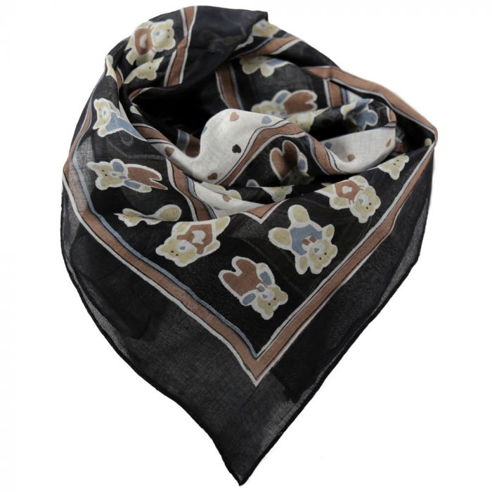 Pañuelo 50x50 cm estampado ositos negro algodón origen India x1u