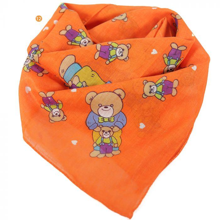 Pañuelo 50x50 cm estampado osito naranja algodón origen India x1u