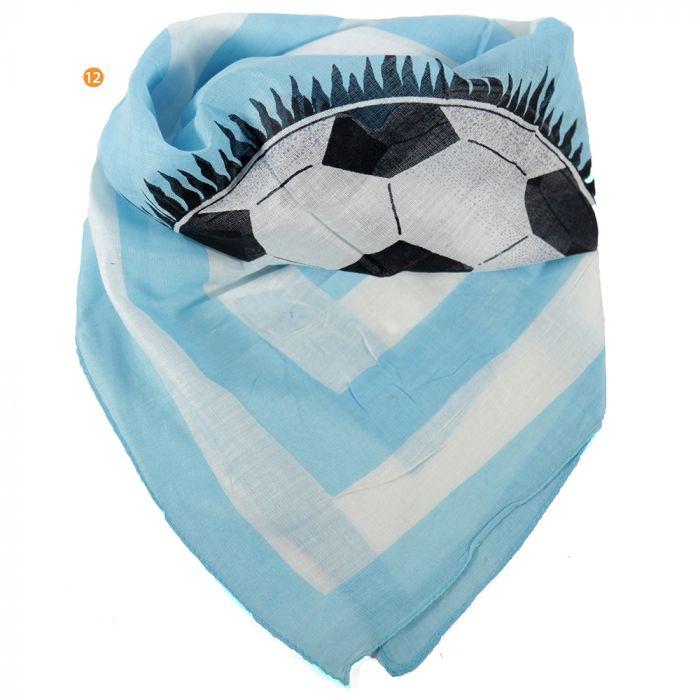 Pañuelo 50x50 cm estampado futbol celeste algodón origen India x1u