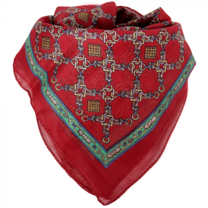 Pañuelo hombre 50x50 cm estampado cadenas rojo algodón x1U