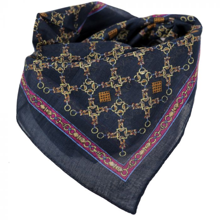 Pañuelo hombre 50x50 cm estampado cadenas azul algodón x1U