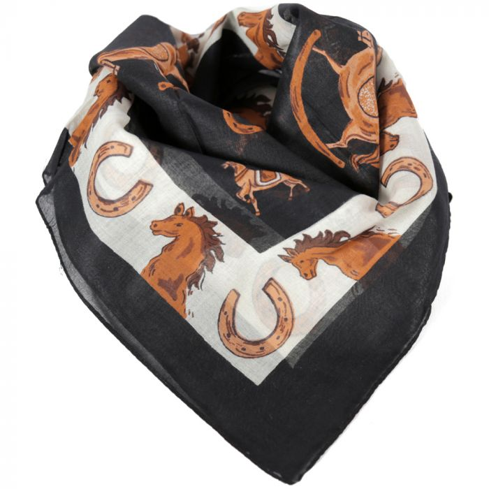 Pañuelo hombre 50x50 cm estampado caballos negro algodón x1U