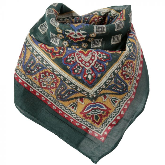 Pañuelo hombre 50x50 cm estampado hindú verde x1U