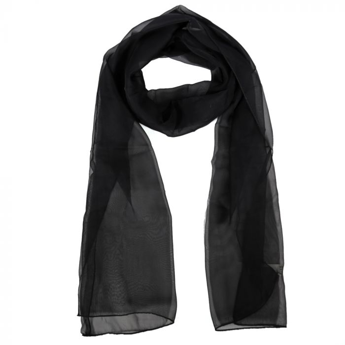 Chalina dama 35x160 cm liso negro poliester origen India x1U